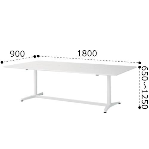 イトーキ toiro トイロ 昇降 テーブル デスク 机 昇降スイッチタイプ プレーン天板 アルミミラー脚 幅1800×奥行900×高さ650~1250ミリ JZT-1809NA-