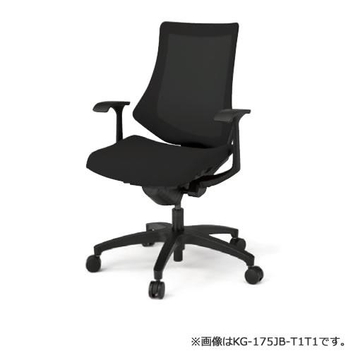 イトーキ エフ チェア メッシュバック ハイバック ベースカラー(ホワイトW9 ブラックT1) T型肘 ストライプレイヤー(JA)メッシュカラー布張 ウレタンキャスター KG175JAM