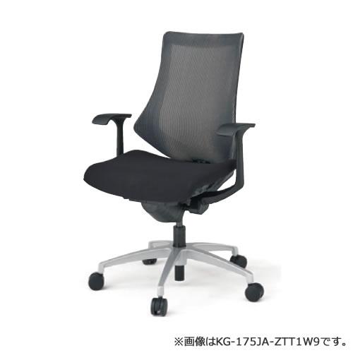 イトーキ エフ チェア メッシュバック ハイバック ベースカラーZT(ブラックTシルバーメタリック) T型肘 ストライプレイヤー(JA)メッシュカラー布張 ウレタンキャスター KG175JAM-ZTT1