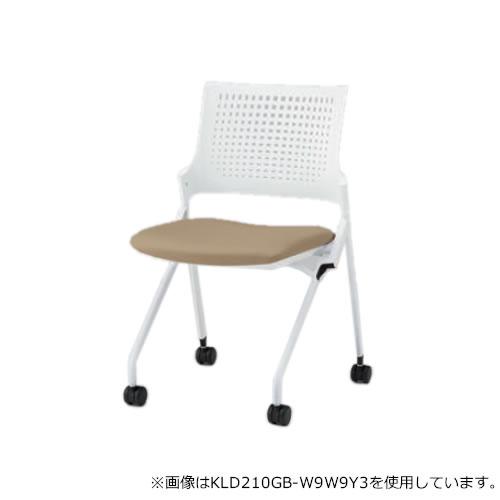 イトーキ 会議椅子 ミーティングチェア モノン チェア ネスタブルタイプ 樹脂メッシュバック 肘なし 背GB張地 布張り 棚付き ナイロン双輪キャスター付 KLD210GBR