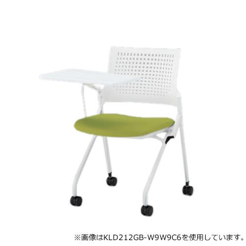 イトーキ 会議椅子 ミーティングチェア モノン チェア ネスタブルタイプ 樹脂メッシュバック メモ台付き 背GB張地 布張り 棚付き ナイロン双輪キャスター付 KLD212GBR