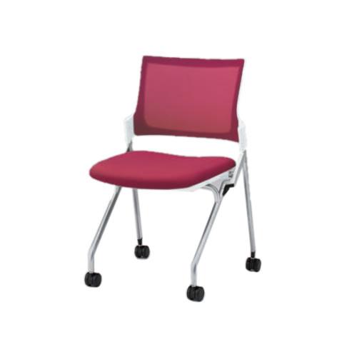 イトーキ 会議椅子 ミーティングチェア モノン チェア ネスタブルタイプ メッシュバック 肘なし 背JB張地 布張り 棚なし クロームメッキ脚 ナイロン双輪キャスター付 KLD230JB-Z9