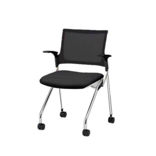 イトーキ 会議椅子 ミーティングチェア モノン チェア ネスタブルタイプ メッシュバック 肘付き 背JB張地 布張り 棚なし クロームメッキ脚 ナイロン双輪キャスター付 KLD235JB-Z9