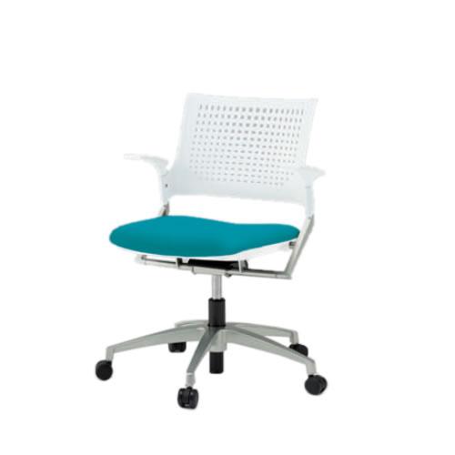 イトーキ 会議椅子 ミーティングチェア モノン チェア 回転脚タイプ ガス上下調節 樹脂メッシュバック 肘付き 背GB張地 布張り ナイロン双輪キャスター付 KLD245GB