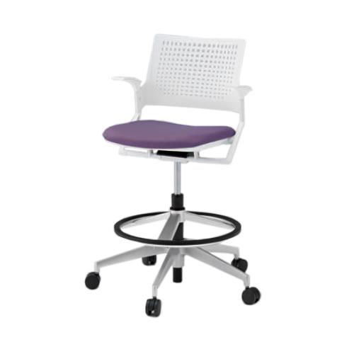 イトーキ 会議椅子 ミーティングチェア モノン チェア 回転脚ハイタイプ ガス上下調節 樹脂メッシュバック 肘付き 背GB張地 布張り 抵抗付ウレタン双輪キャスター付 KLD275GB