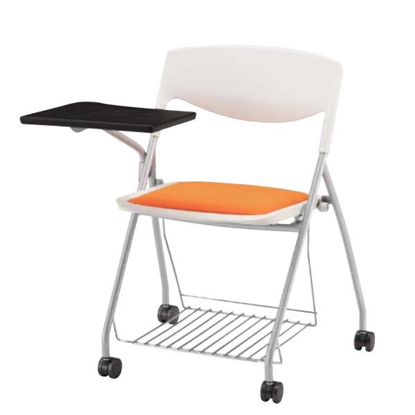 メモ台付きチェア テーブル付き椅子 ネスト NESTO ネスティングチェア 座ウレタン 網棚き 布張り NSC-44TRWH