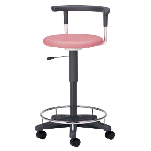 回転スツール 作業用チェア 作業椅子 作業用椅子 ガス上下調節 キャスター付き 背付 リング付き ビニールレザー張り TD-40R