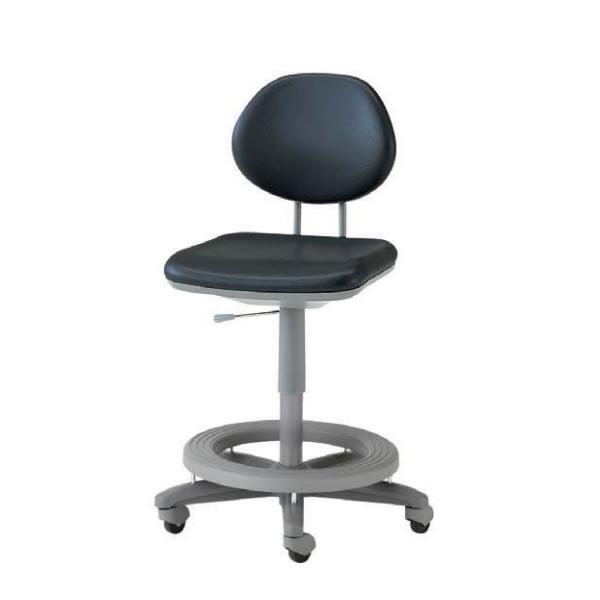 オフィスチェア カウンターチェア ステップ付チェア 作業用椅子 背付き キャスター付 ガス上下調節 ビニールレザー張り TEL-SD6L-ST