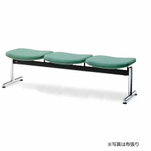 コクヨ ロビーチェアー パーム430シリーズ 長椅子 ベンチ(3連) 3人掛け T字脚タイプ 背なし ポリウレタン系レザー張り CN-433B
