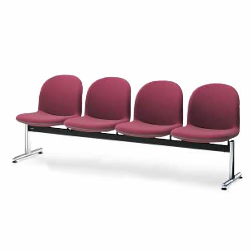 コクヨ ロビーチェアー パーム430シリーズ 長椅子 ベンチ(4連) 4人掛け T字脚タイプ 背付き ポリウレタン系レザー張り CN-434