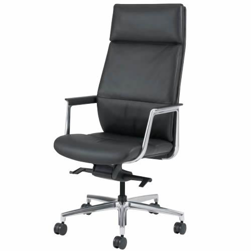 オカムラ エグゼクティブチェア 社長椅子 フィルメ ボリュームタイプ エクストラハイバック ニーチルトメカ 5本脚 キャスター脚 革張り レザー L434JE-P