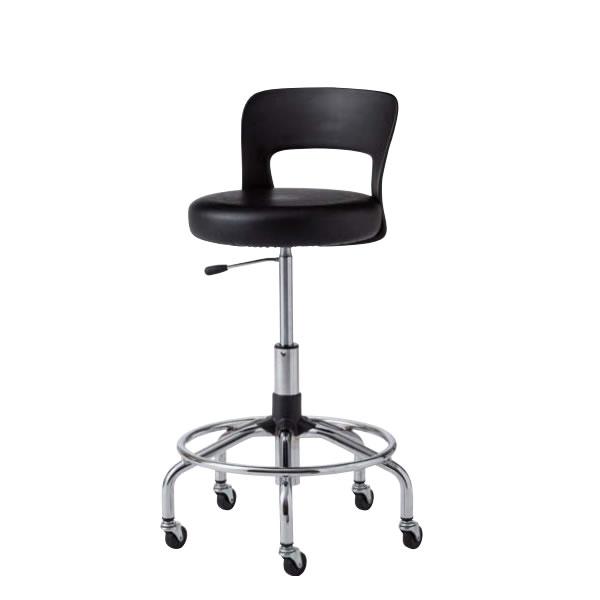 作業用チェア 作業椅子 作業用椅子 高作業用スツール CA型 メッキ脚 MVビニールレザー張り ガス上下調節 背付き CA-MT5