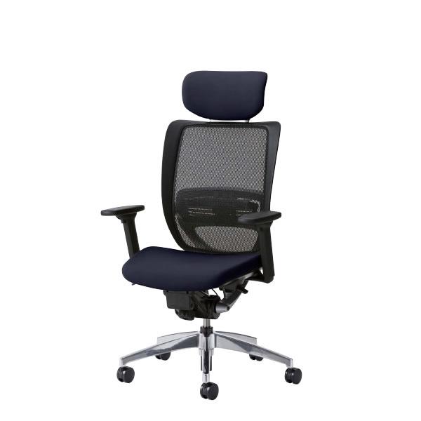 お買い物マラソン期間中ポイント10倍 オフィスチェアー オフィスチェア 椅子 SFRチェア アルミ脚 3WAY可動肘付 ヘッドレスト付き 背メッシュ座クッション SFR-H88RB