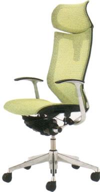 オカムラ バロン チェア エクストラハイバック 可動ヘッドレスト デザインアーム ポリッシュフレーム座メッシュCP41AS