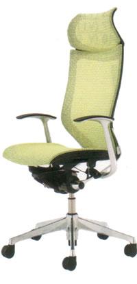 オカムラ バロン チェア エクストラハイバック 固定ヘッドレスト デザインアーム ポリッシュフレーム座メッシュCP48AS