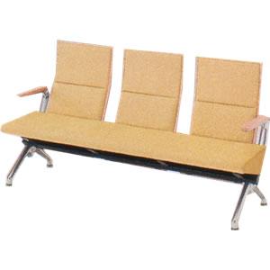 オカムラ ロビーチェア セデオ シリーズ 椅子 布背パッド アルミ両肘付 LB24BA-FL