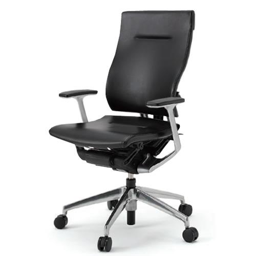 イトーキ オフィスチェア スピーナ ハイバック レザータイプ T型肘 アルミ脚タイプ 背座/革張り ナイロン双輪キャスター KE-715LA-Z9T1