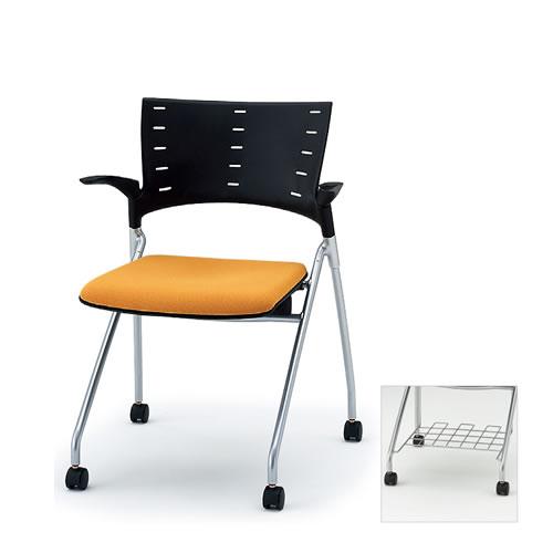 イトーキ ミーティングチェア 会議椅子 マノス チェア ネスタブルタイプ 肘付き 棚付き 抗菌加工布張り(PG) ナイロン双輪キャスター付 KLD-315PGR
