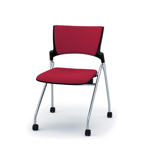 イトーキ ミーティングチェア 会議椅子 マノス チェア ネスタブルタイプ 背パッド付き 肘なし 棚なし 抗菌加工布張り(PG) ナイロン双輪キャスター付 KLD-320PG