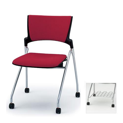 イトーキ ミーティングチェア 会議椅子 マノス チェア ネスタブルタイプ 背パッド付き 肘なし 棚付き 防炎布張り(GE) ナイロン双輪キャスター付 KLD-320GER