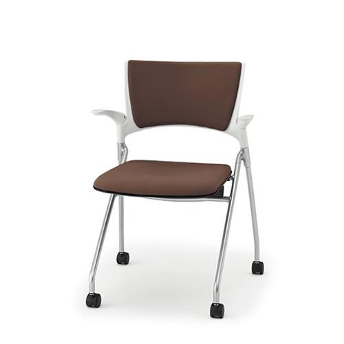 イトーキ ミーティングチェア 会議椅子 マノス チェア ネスタブルタイプ 背パッド付き 肘付き 棚なし 抗菌加工布張り(PG) ナイロン双輪キャスター付 KLD-325PG