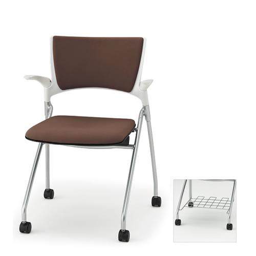 イトーキ ミーティングチェア 会議椅子 マノス チェア ネスタブルタイプ 背パッド付き 肘付き 棚付き 防炎布張り(GE) ナイロン双輪キャスター付 KLD-325GER