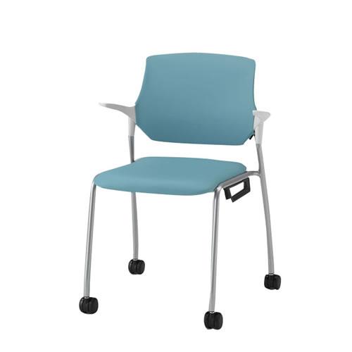 イトーキ ミーティングチェア 会議椅子 ステンザ チェア クロスバック ウレタンレザー張り キャスター付き KLC-565DR
