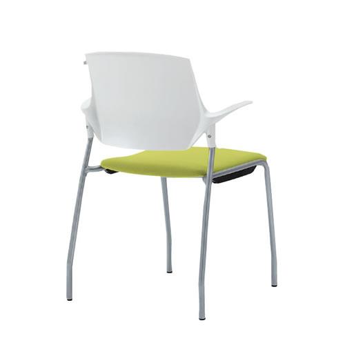 イトーキ ミーティングチェア 会議椅子 ステンザ チェア 樹脂バック ウレタンレザー張り 4本脚 KLC-535DR