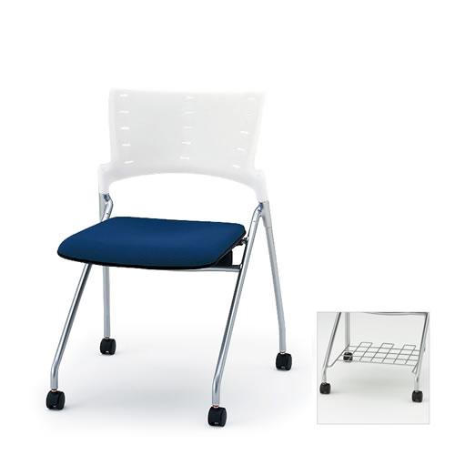 イトーキ ミーティングチェア 会議椅子 マノス チェア ネスタブルタイプ 肘なし 棚付き 防炎布張り(GE) ナイロン双輪キャスター付 KLD-310GER