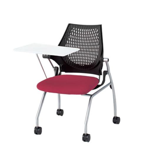 イトーキ 会議椅子 ミーティングチェアー イプサ ipsa メモ台付き 樹脂メッシュバックバック 布張り ロッキング付き 4本脚キャスター付き KLD142NGS