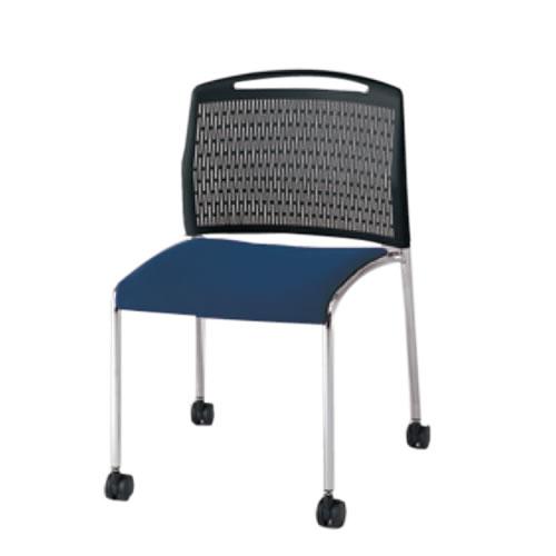 イトーキ ミーティングチェア 会議椅子 スタッキングチェア U-1 樹脂メッシュバック 再生布地/ビニールレザー張り キャスター脚【スタッキング不可】 KLU-140