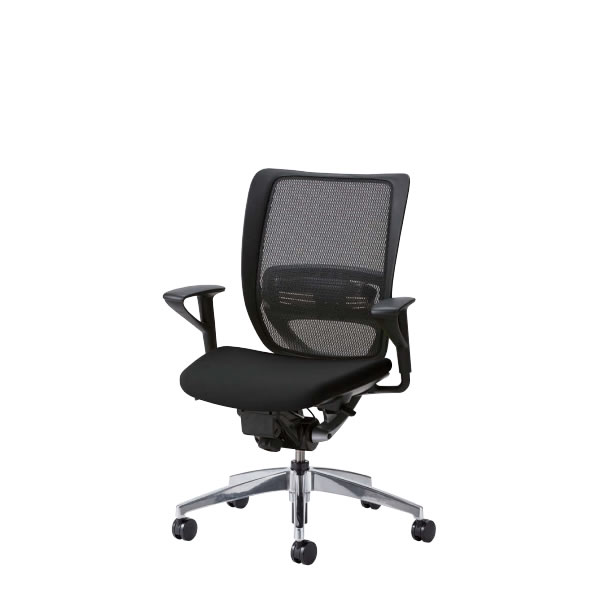 オフィスチェアー オフィスチェア 椅子 SFRチェア アルミ脚 固定肘付 背メッシュ座クッション SFR-A85RB