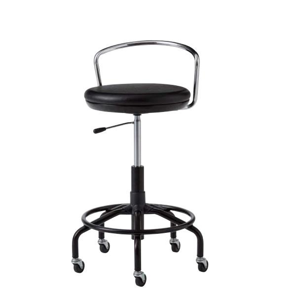 作業用チェア 作業椅子 作業用椅子 高作業用スツール TSM型 塗装脚 ビニールレザー張り ガス上下調節 背付き TSM-BT7