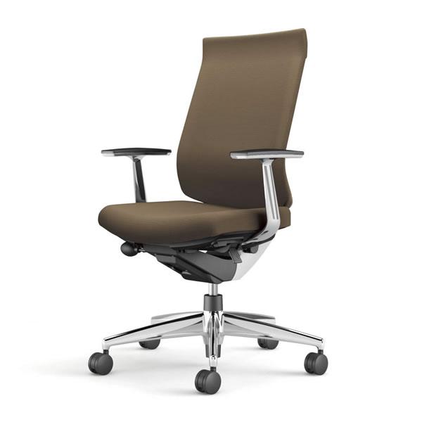 コクヨ 事務椅子 オフィスチェア ウィザード3チェアー アルミポリッシュ脚 ハイバック アルミ肘 布張り CR-A3663