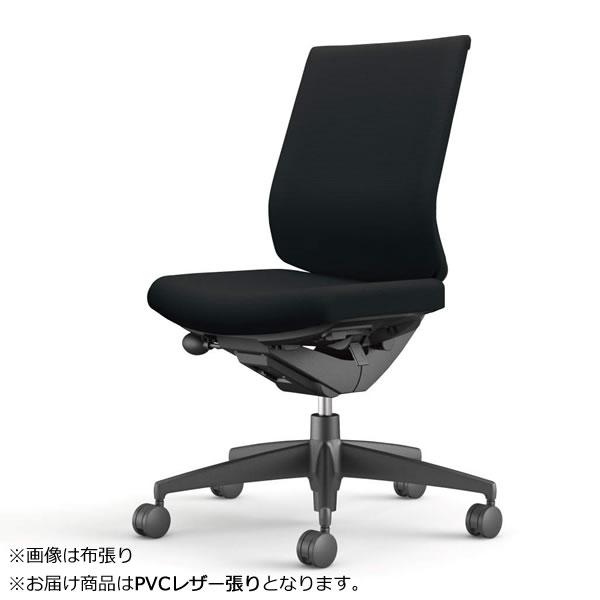コクヨ 事務椅子 オフィスチェア ウィザード3チェアー ブラック樹脂脚 ローバック 肘なし PVCレザー張り CR-G3620-