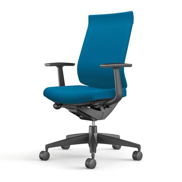 コクヨ 事務椅子 オフィスチェア ウィザード3チェアー ブラック樹脂脚 ハイバック T型肘 布張り CR-G3623