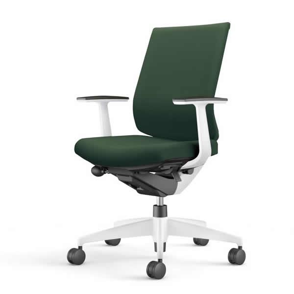 コクヨ 事務椅子 オフィスチェア ウィザード3チェアー ホワイト樹脂脚ホワイトシェル ローバック T型肘 布張り CR-W3621