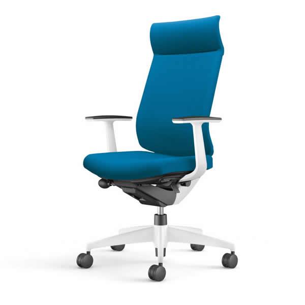 コクヨ 事務椅子 オフィスチェア ウィザード3チェアー ホワイト樹脂脚ホワイトシェル ミドルマネージメント T型肘 布張り CR-W3625