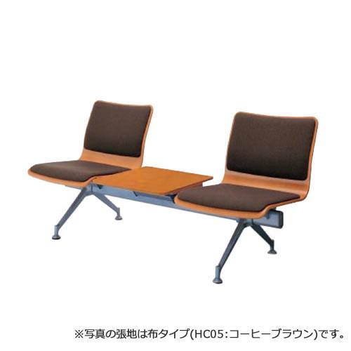 コクヨ ロビーチェア 770シリーズ3連テーブル付チェアー レザー張り CN-W773TVP
