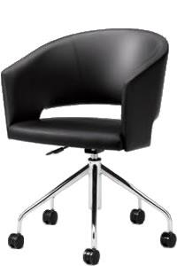 オカムラ ミーティングチェア 椅子 会議チェア 回転チェア脚張りぐるみバックビュータイプウレタンレザー張り 8146RF-P