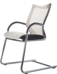 オカムラ ミーティングチェア 椅子 会議チェア バロン ゲスト チェア キャンチレバー脚 肘付シルバーフレーム座メッシュ CP72CR