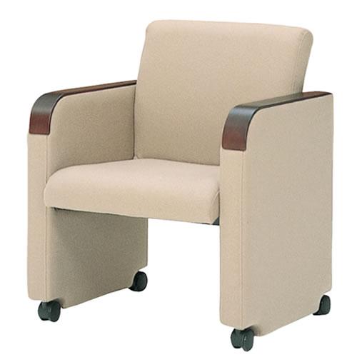 生興 ミーティングチェア 椅子 会議チェア MC-750シリーズ キャスター脚ローズ木製肘 MC-750RFC