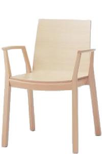 オカムラ 椅子 木製 アルタ 肘付 4本脚ナチュラルフレーム合板張り L688ZA-WA38