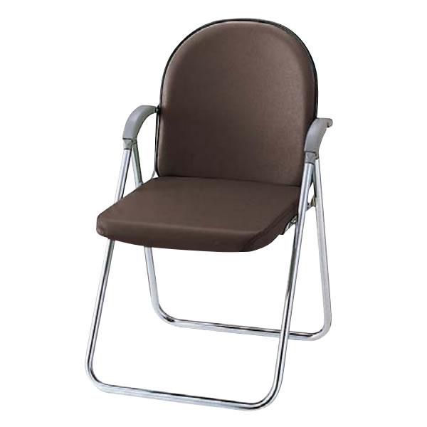 折りたたみチェア 折りたたみ椅子 イス いす 肘付き Sバネ座 レザー張り TO-332RL