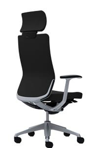 オカムラ コーラル チェア クッションタイプ エクストラハイバック 本体カラーブラック 脚カラーシルバー デザインアーム ランバーサポート付CQ4CGS