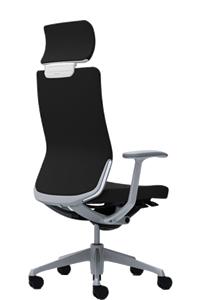 オカムラ コーラル チェア クッションタイプ エクストラハイバック 本体カラーホワイト 脚カラーシルバー デザインアーム ランバーサポート付CQ4CGZ