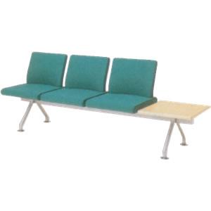オカムラ ロビーチェア フローザ シリーズ 3人用テーブル付 イス 肘なし ウレタンレザー張り LB20NT-P
