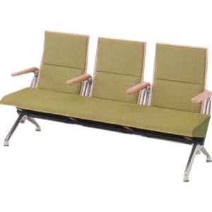 オカムラ ロビーチェア セデオ シリーズ 椅子 ウレタンレザー背パッド アルミ各肘付 LB24BS-P