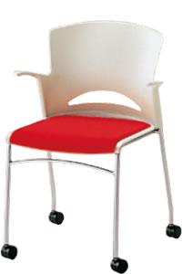 ミーティングチェア 椅子 会議チェア 肘付 ルルコラ チェアー キャスター脚 背カバーなし NOLLC-H12