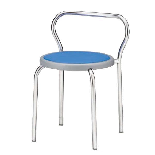 丸イス 丸椅子 パイプ 座固定 スツール 丸いす 背付 メッキ脚 4脚セットNOR-201N
